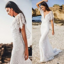 2019 Sexy Lace Mermiad Wedding Dress Deep V Backless Batwing Sleeve Beach Vestido De Noiva Vintage Boho Wedding Gowns