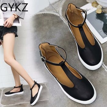 2019 New Women Shoes Vintage Solid Loafers Shoes Round Toe Platform Flat Buckle Strap Casual Shoes Female Single Shoes