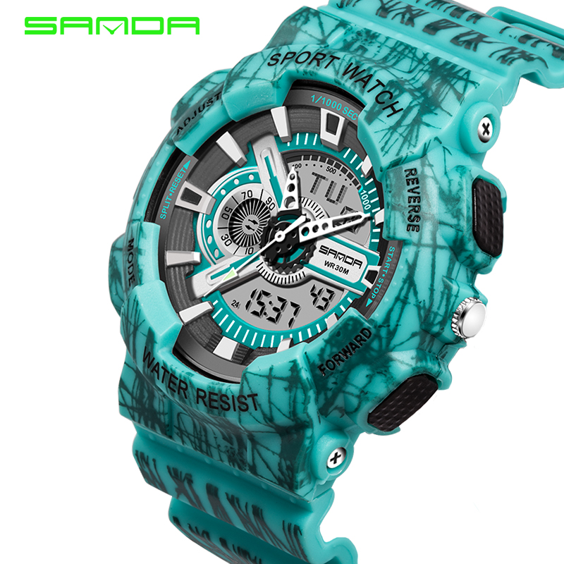 2016 Quartz Digital Camo Watch Men Dual Time Man Sports Watches Men SANDA S Shock Military Army Reloj Hombre LED Wristwatches sanda date alarm men s army infantry waterproof led digital sports watch gray rubber