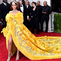 2016 Luxury Yellow Celebrity Dresses For Winter Prom Dresses Long Sleeve with Embroidery Royal Train robe de soiree Fake Fur