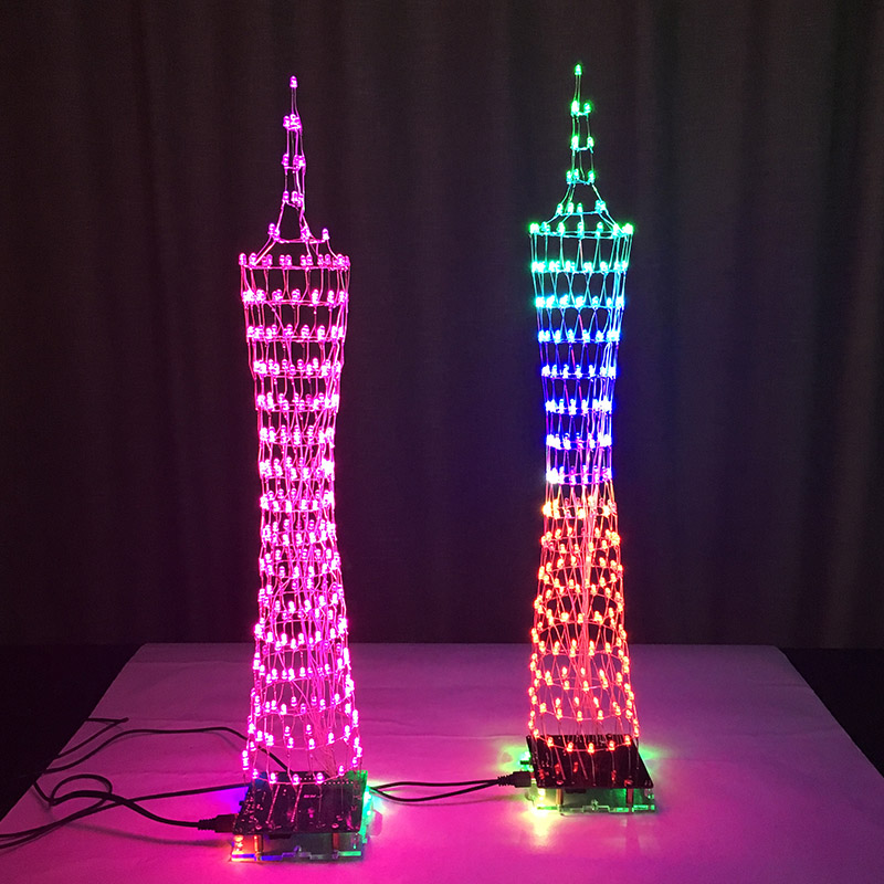 Leory Eiffel Tower Diy 3d Led Light Cube Kit 5v Led Music Spectrum Diy Electronic Kit For Dac Mp3 For Diy Welding Enthusiast Soft And Light Dac Accessories & Parts