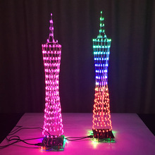 LEORY Kit DIY 3D LED Cubo de Luz 16x16 268 LED Espectro de la música Electrónica Diy Kit Con Control Remoto Auxiliar De Soldadura placa