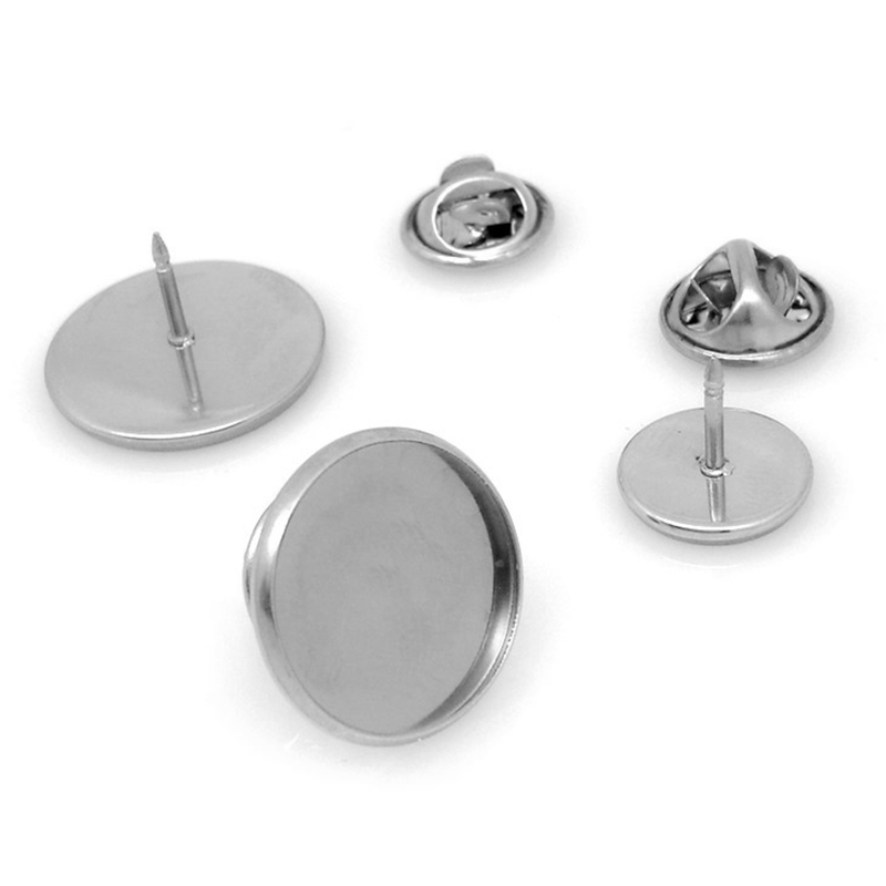 10pcs Fit12/14/16/18/20/25mm Stainless Steel Material Brooch Style Cabochon Base Blank Cufflink Spacer Settings Tie Tack Pins