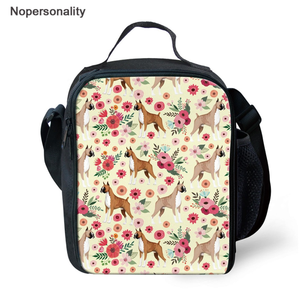 Nopersonality Lunch Bags for Women Kids Boxer Dog Printing Lunch Insulated Thermal Bag Picnic Keep Food Fresh Portable Lunch Box image