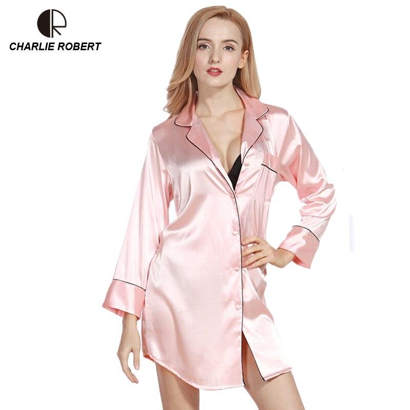 CR Imitation Silk Blouse Sexy Lingerie Long Sleeve V-neck Shirt Brand New Sleepwear Free Shipping