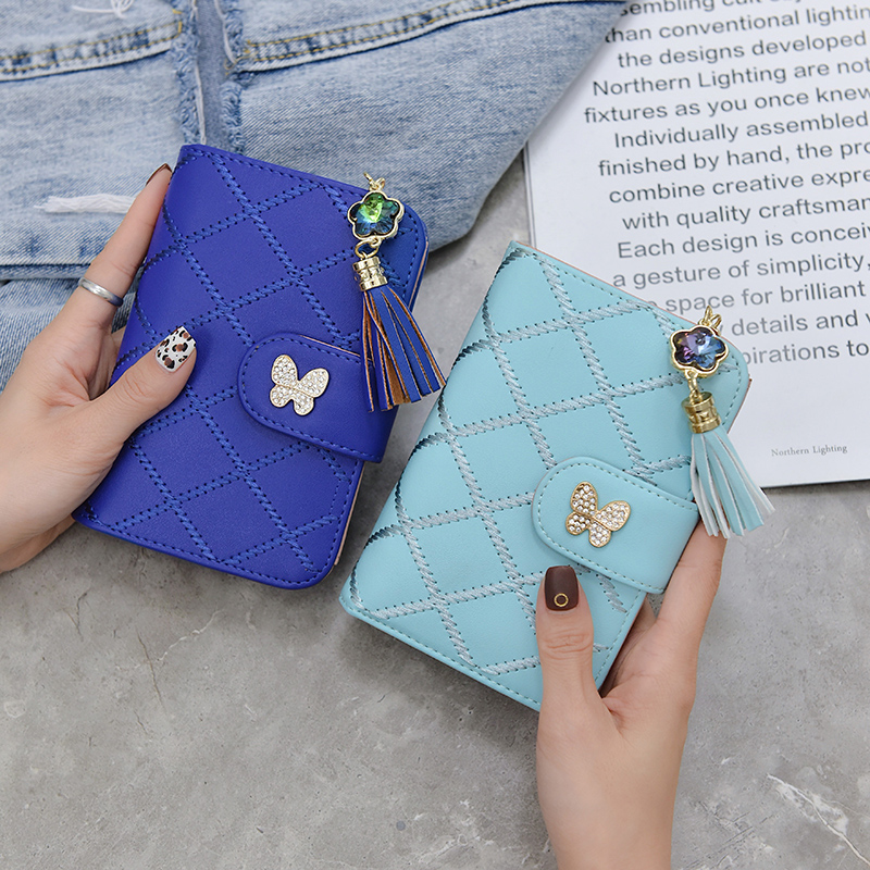 Cute Tassel Women Wallets and Purses Brand Leather Short Purse Hasp Small Wallet Coin Pocket Card Holder Wallets Money Bag 2019 in Wallets from Luggage Bags