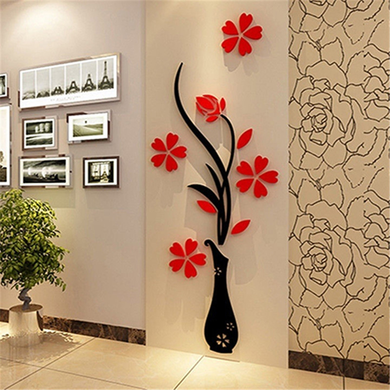 DIY Home Room Decor 3D Vase Flower Tree Wall Sticker Removable Decal 30x80cm