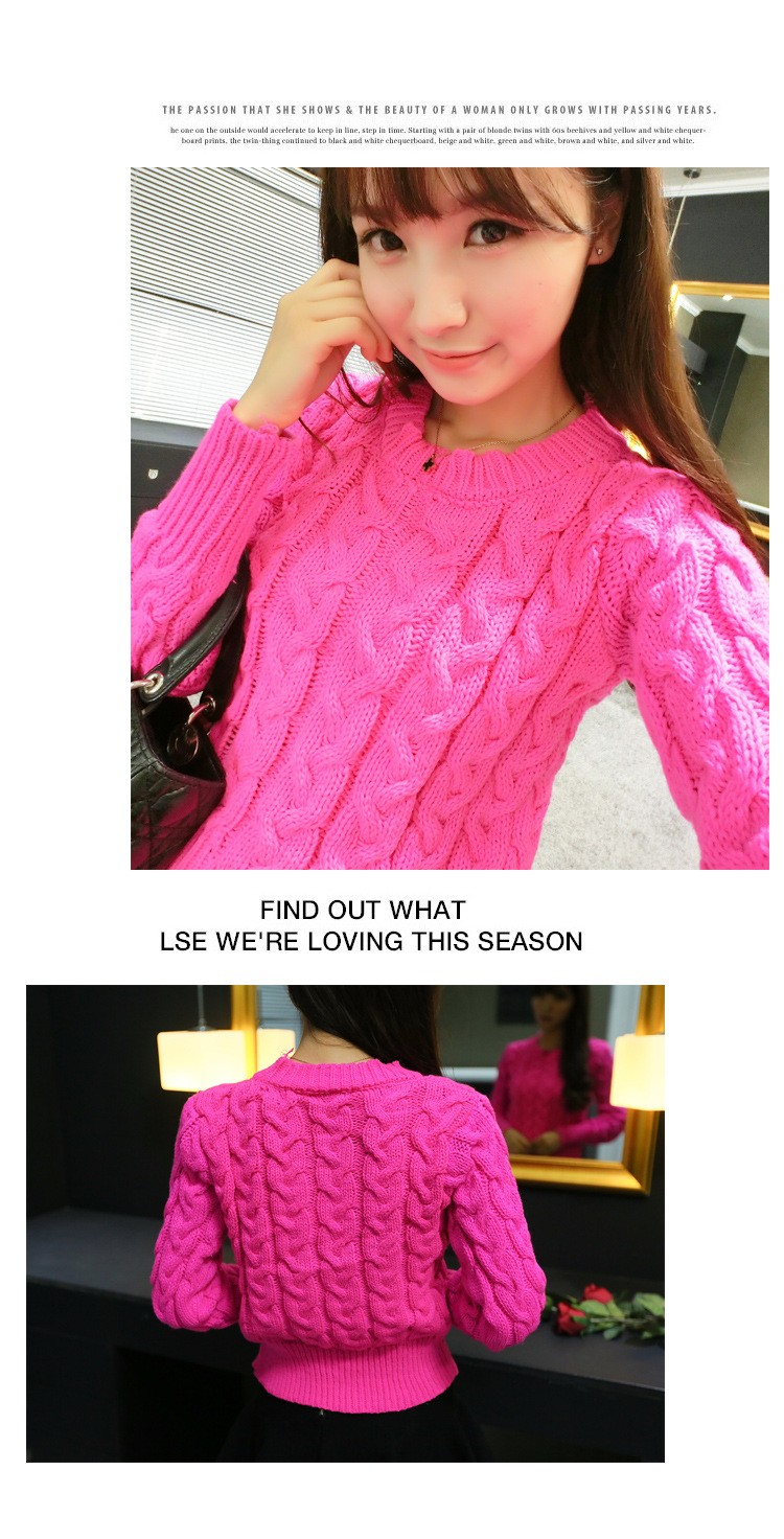 Retro Style Thick Line O-Neck Pullover Short Sweater Women Girl Spring 2016 (7)