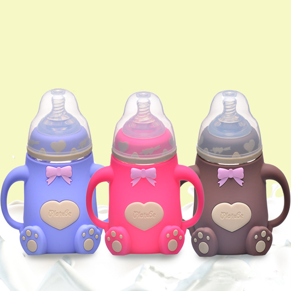 Wide caliber silicone bottle with handle silicone case anti - fall anti - flat gas baby bottle maternal and infant supplies dudou angel love ho maternal and infant shops 0147