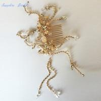 Sapphire Bridal Handmade Shiny Crystal Bridal Beach Gold Wedding Accessories Crystals bridal Veil With Comb