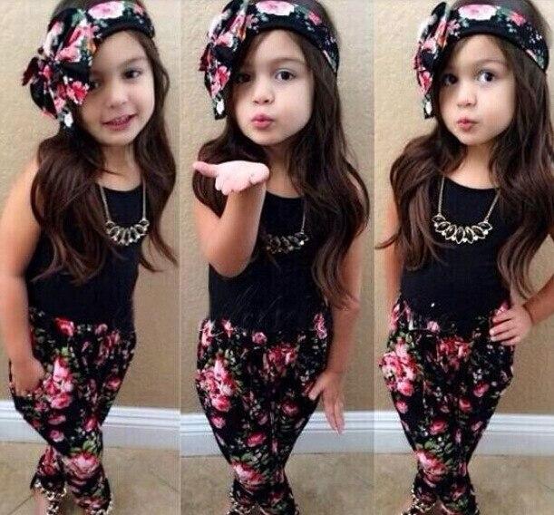 71bf8b44e Niñas florales ropa set top + pants + headband 3 unids ropa juego de las  muchachas 2 8 años los niños ropa conjunto menina en Sistemas de la ropa de  Mamá y ...