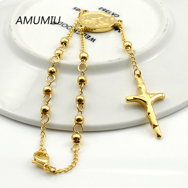 Amumiu 20cm 4mm Women Religious Bracelet Gold Color Beads Chain Stainless Steel Rosary Jewelry With