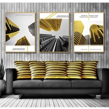 Light luxury atmospheric golden building Living room decorative painting Vertical version sofa Background wall Entrance mural