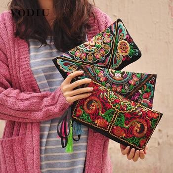 Women Bag Handbags Summer Cotton Clutch Embroidered Purse Phone Coin Tassel Small Floral Female Bolsa Casual Wallet Vintage Sale