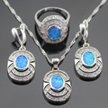 Blue Opal White Cubic Zirconia Silver Color Jewelry Sets For Women Fashion Drop Earrings Necklace Pendant Ring Free Gift Box