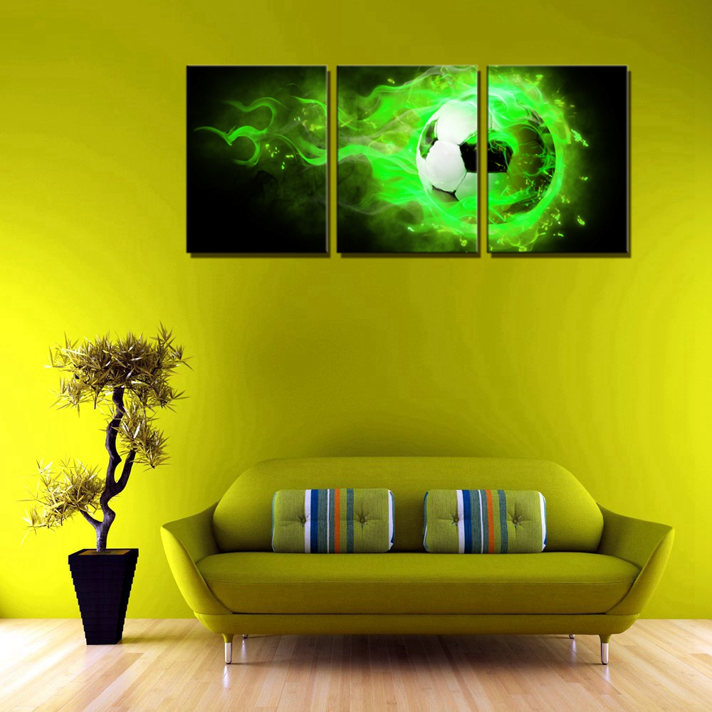 Fire Soccer Wall Decor Canvas Painting for Kids Bedroom Wall Art ...
