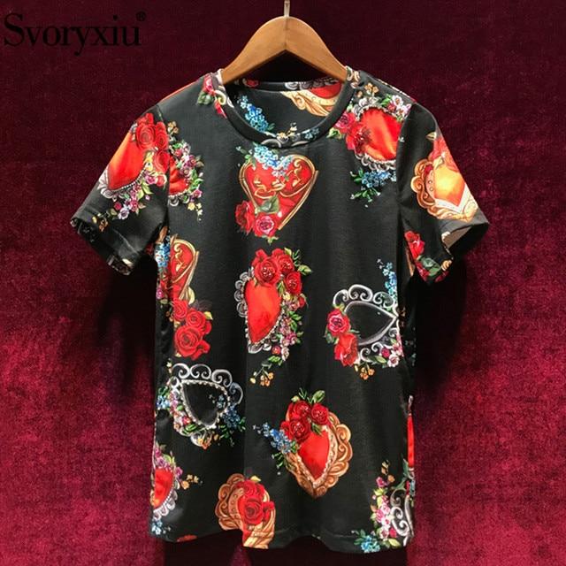 Svoryxiu Black Rose Floral Heart Shaped Print Runway T Shirts Women's Fashion Diamond Holiday Summer Short Sleeve Tops Tees