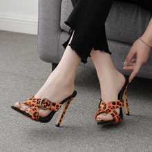 New Summer High Heel Woman Slippers Sex Leopard And Serpentine Grain Stiletto Shoe Sandal Buckles Pointed Toe Ladies Shoes