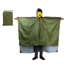 Multifunctional Rain Coat Protable Hiking Camping Raincoat Poncho  Mat Awning Outdoors Gear Supplies 3 In 1