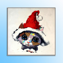 Top aritist 100% Hand Painted Canvas cartoon animal Oil Painting lovely Picture For living room kids chrismas gift