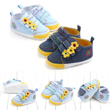 Newborn Baby Boys Girl Cotton Ankle Canvas Shallow Fashion Crib Shoes Casual Sneaker Toddler First Walkers 2019 New Arrival(China)
