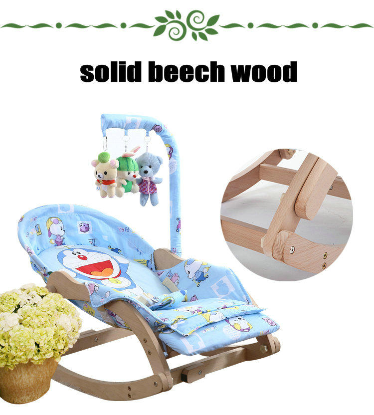 HTB1 NfgXcvrK1Rjy0Feq6ATmVXaY Beech Wood Baby Rocking Chair with Rotating Toy Rack, Foldable 5 Grade Adjust Baby Cradle, Portable Rocking Chair
