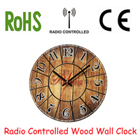 DCF77 Digital RC Wood Wall Clocks Funkuhr Wooden Clock Quartz MDF 10 Inch Quartz France Design