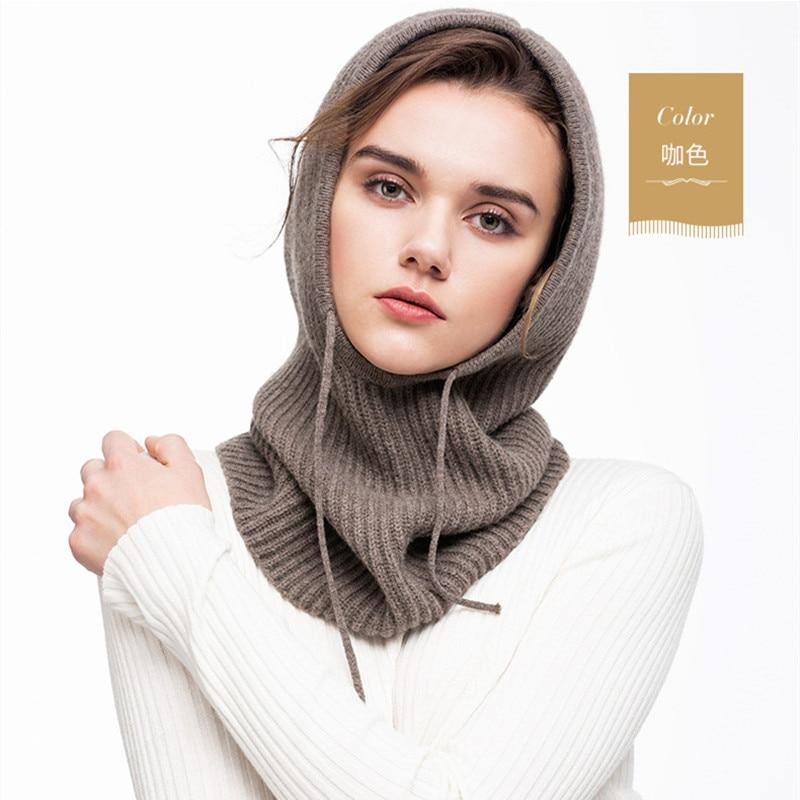 Limited Promo  BARESKIY lambskin hat even scarf one black spring thickening knit head fashion collar women's wool