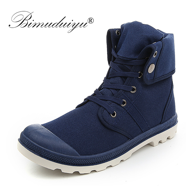 aa938c5f88f82 BIMUDUIYU Autumn Winter Men Canvas Boots Army Combat Style Fashion High-top  Military Ankle Boots Non-slip Breathable Canvas Shoe