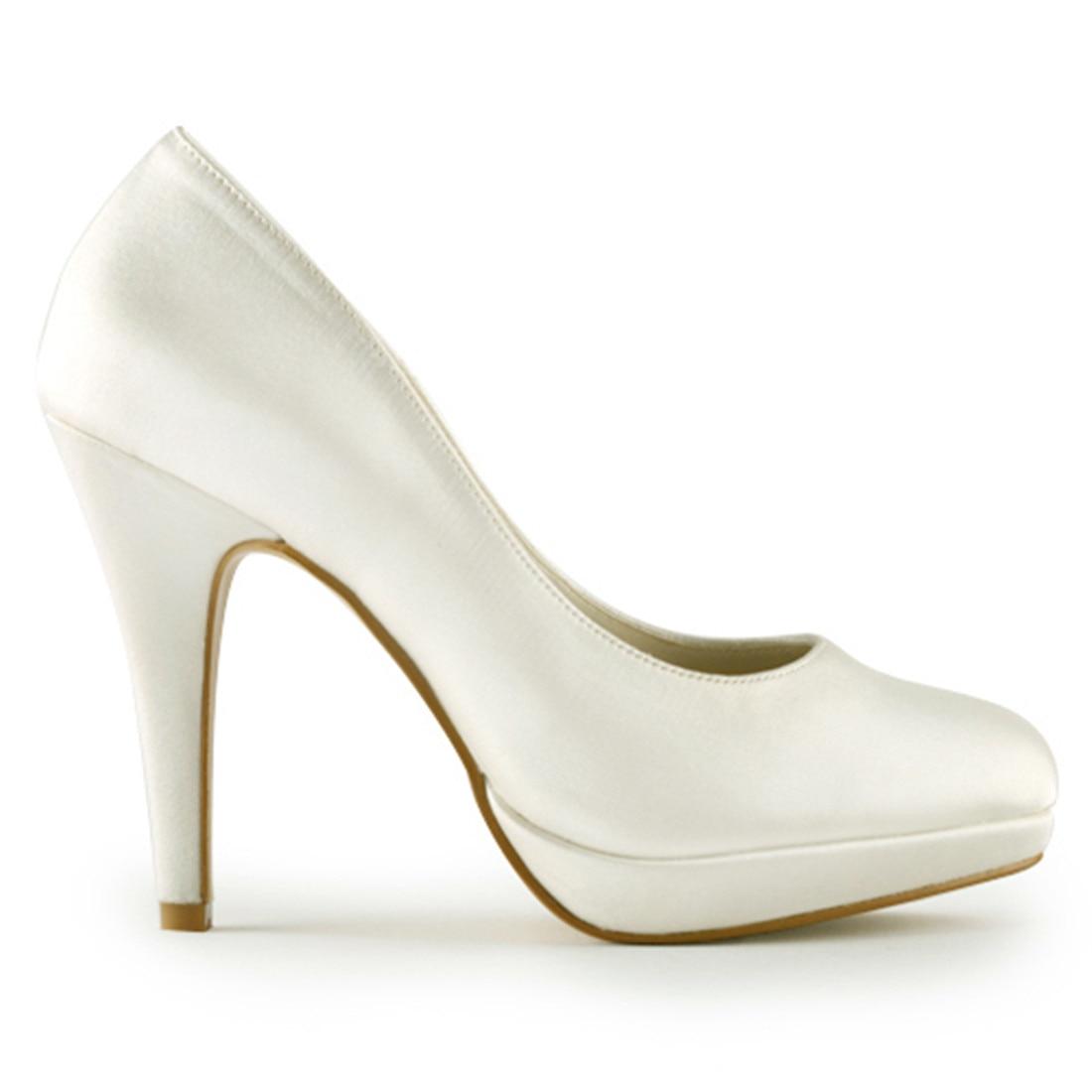 Elegante Dünne High Heels Braut Brautjungfer Elfenbein Weiß Champagner Plattform Pumpen Luxus Satin Hochzeit Schuhe Uninnova 521 1 LY - 4