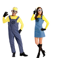 free pp 2017 New Adults Mens/Womens Minion Costume Halloween Anime Cosplay Costumes Suits Party Clothes M L
