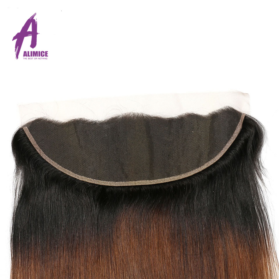Ombre Peruvian Straight Lace Frontal 3 Tones T1B427 Human Hair Closure With Baby Hair T1B430 Non Remy 8-24inch Alimice  (1)