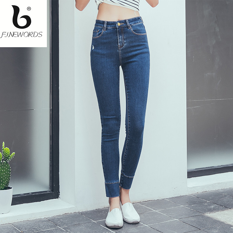 ФОТО FINEWORDS Autumn Winter Vintage Washed Skinny Jeans Woman Causal High Waist Jeans Feminino Slim 4 Colored Causal Pants Denim