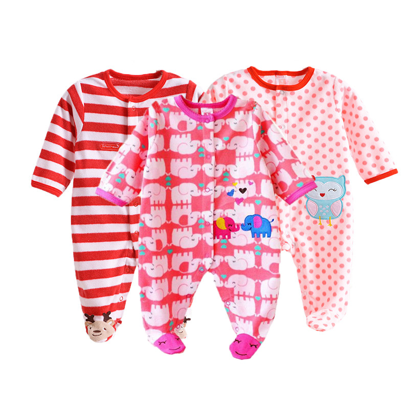 <font><b>Baby</b></font> <font><b>Rompers</b></font> Winter <font><b>Fleece</b></font> Clothing Set for Boys Cartoon Infant <font><b>Girls</b></font> <font><b>Clothes</b></font> Newborn Overalls <font><b>Baby</b></font> Jumpsuit <font><b>Christmas</b></font> <font><b>Clothes</b></font> image
