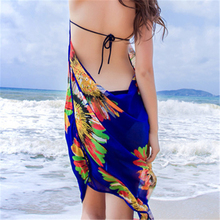 New Seaside Holiday Sun Flower Chiffon Strap Dress Sexy Beach Strapless