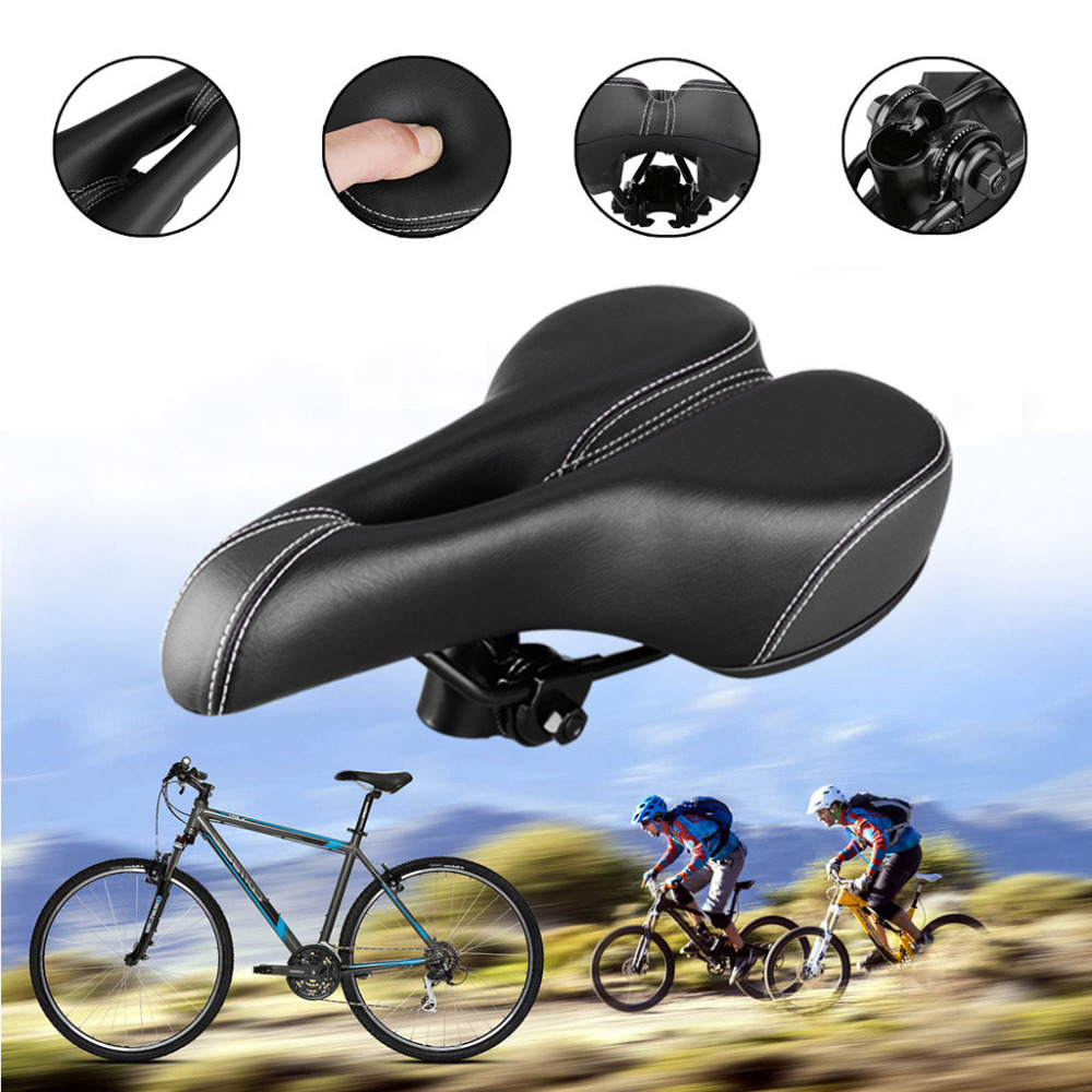 Extra Wide Comfort Saddle Bicycle Seat Pad Soft Cushion Mountain Bike Saddle