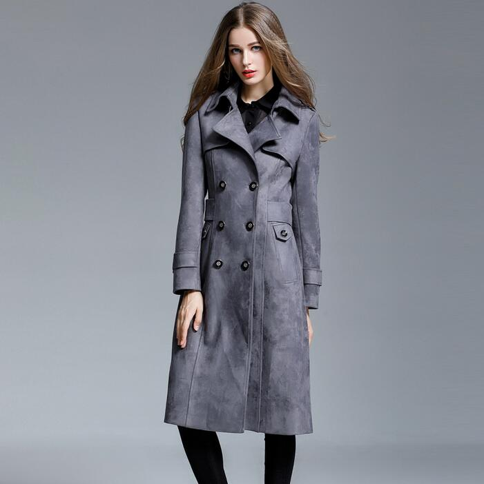 Deerskin cashmere   trench   coat female 2019 ultra long   trench   coats womens plus size outerwear chamois women overcoat fashion