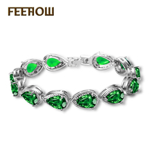 FEEHOW Gold Color Water Drop & Pear Shape Cubic Zirconia Crystal Bracelets Bangles for Women's Best Gift Bridal Jewelry FWBP055