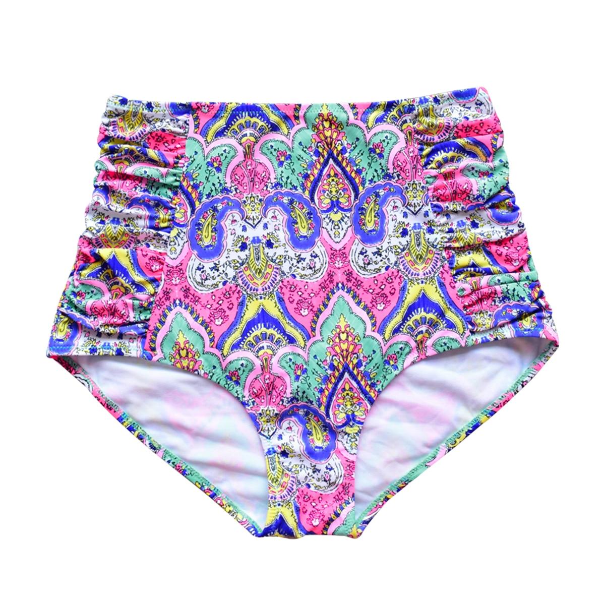 New Arrival High Waist Swim Trunks Bikini Bottoms Women Beach Print Floral Swimwear underwear Swimming Shorts Briefs