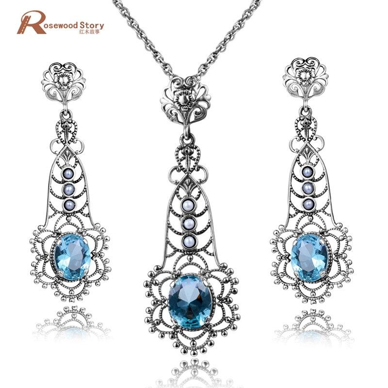 Willensstark Mode Elegant Natürliche Perle Frauen Schmuck Sets Luxus Blau Stein Kristall 925 Sterling Silber Anhänger + Ohrringe Perle Schmuck Um 50 Prozent Reduziert