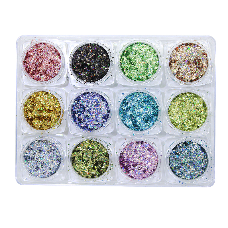 12Boxes/set Ultra-thin Holographic Nail Flakes Laser Holo Glitter Sequins 12 Colors Powder 2gram
