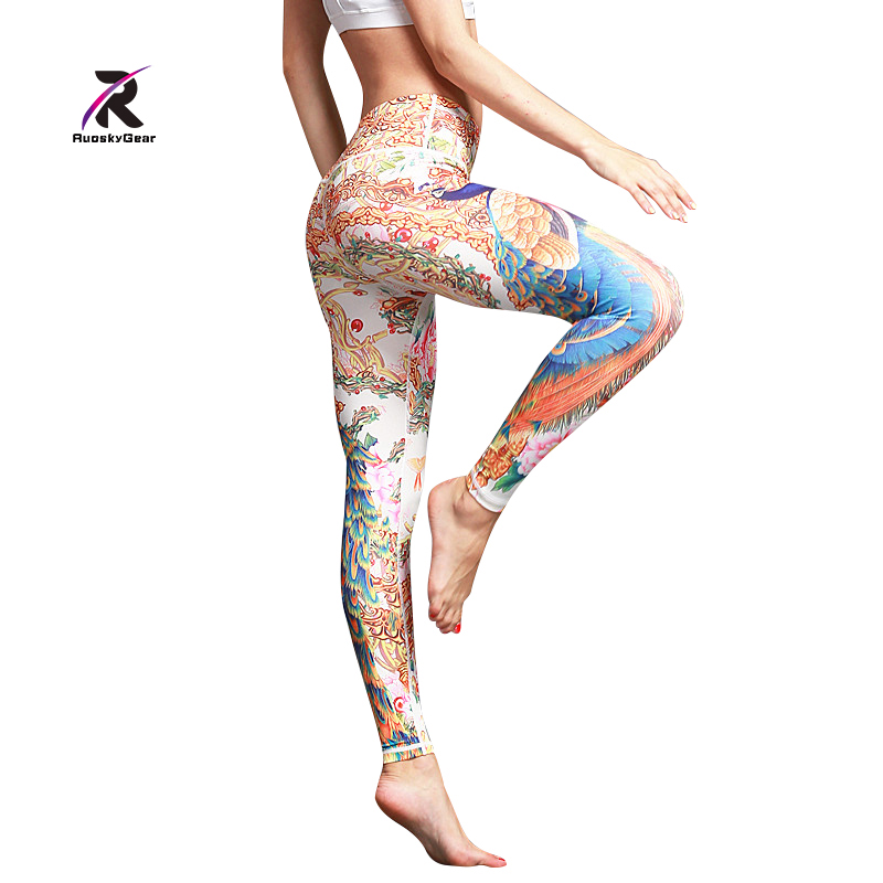 Women Yoga Printed Leggings and Capris Running Compression Tight Female Workout Pants Elastic Sport Fitness Gym Stretch Trousers
