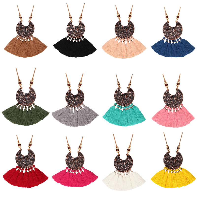 2020 NEW Women Boho Ethnic Necklace Tassel Wooden Beading Long Rope Choker Pendants Long Sweater Chain For Vintage Dresses Lady