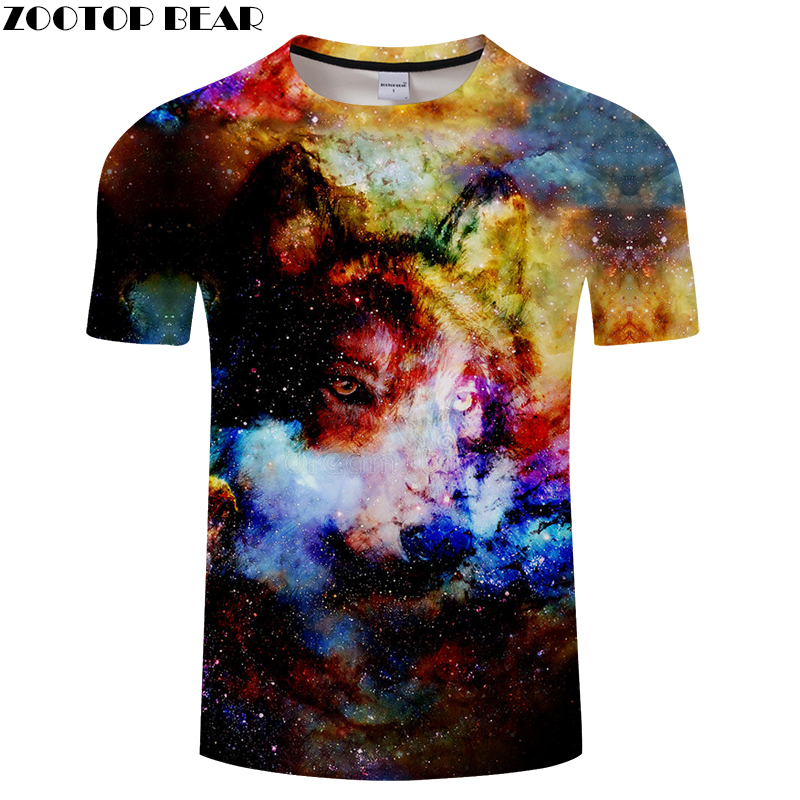 Colorful tshirt Wolf t shirt Men 3D T-shirt Brand Tee Streatwear Top Summer Camiseta Short Sleeve New Unisex DropShip ZOOTOPBEAR