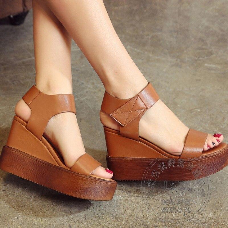 ФОТО Slingbacks Club Sandals Full Grain Leather Antiskid Wedge Leisure High Platform Shoes Deodorant Street Fashion Hook Loop