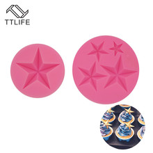 TTLIFE 3D Star Silicone Mold Pentagram Fondant Cake Decorating Tool Dessert Chocolate Baking Mould Pastry Stencil Kitchen Gadget ttlife 3d easter bunny silicone mold rabbit with carrot cupcake fondant cake decorating diy tool animal chocolate dessert mould