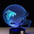 Casco de fútbol americano Atlanta Falcons Logotipo del Equipo Luces de La Noche 3D Visual Impresionante multicolor lámpara de Noche Accesorios De Escritorio del hogar