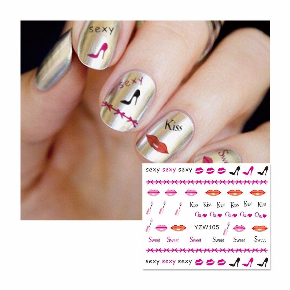 WUF 1 Sheet Fashion Kiss Lips Designs DIY Decals Nails Art Water ...