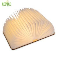 LEDGLE Foldable LED Book Light Rechargeable LED Night Light Creative Wooden Lamp For Decor Book Shape