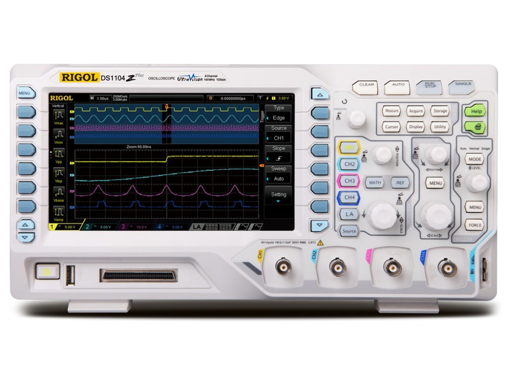 RIGOL DS1104Z Plus 100 MHz Digital Oscilloscope with 4 CH and 16 Digital CH 25 MHz Bandwidth with 2 Signal Source ChannelsOscilloscopes   -